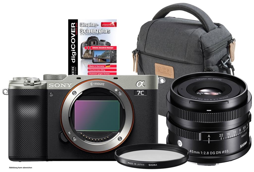Sony alpha 7C (ILCE7CS) silber inkl. Sigma 45mm 1:2,8 DG DN Contemporary + Tasche, UV-Filter und Display-Schutzglas GRATIS