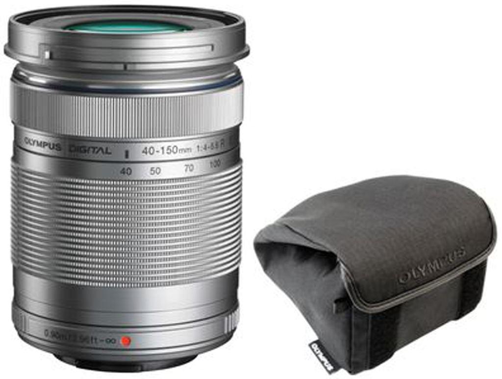 Olympus M. Zuiko Digital 40-150mm 1:4,0-5,6R + Wrapping Case silber