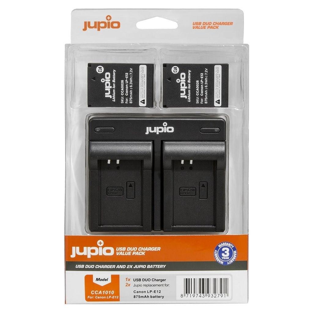 Jupio Value Pack Canon 2 x LP- E12 + Doppelladegerät