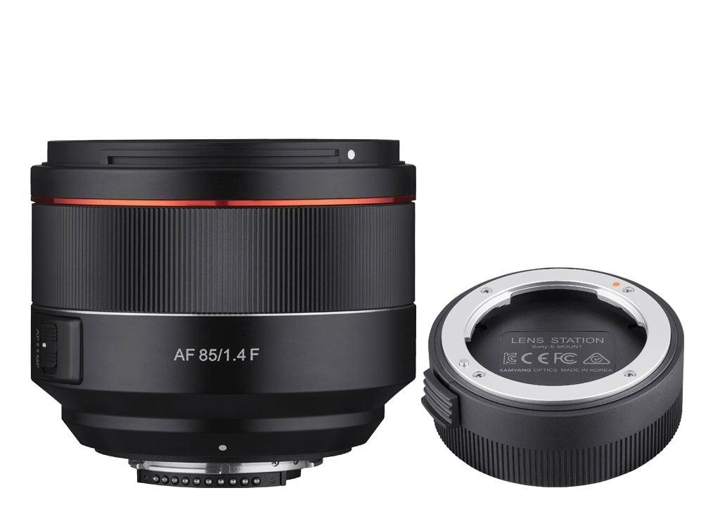 Samyang AF 85mm 1:1,4 inkl. Lens Station für Canon EF