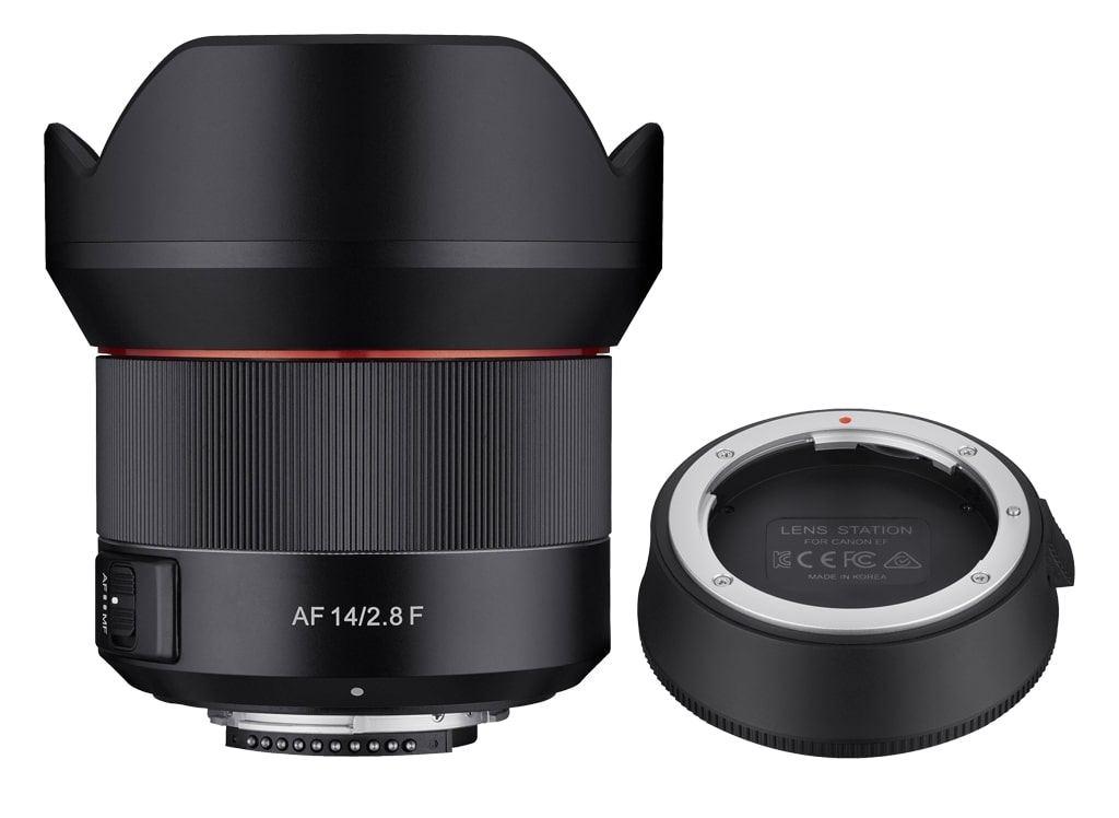 Samyang AF 14mm 1:2,8 inkl. Lens Station für Canon EF