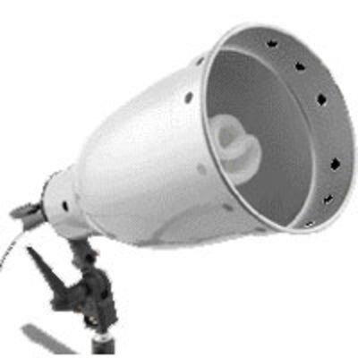 Alu-Reflektor 16cm Ø (abnehmbar) und 28cm tief; innen silber mattiert.Inklusive Diffusor-Aufsatz und Universalhalter 501: