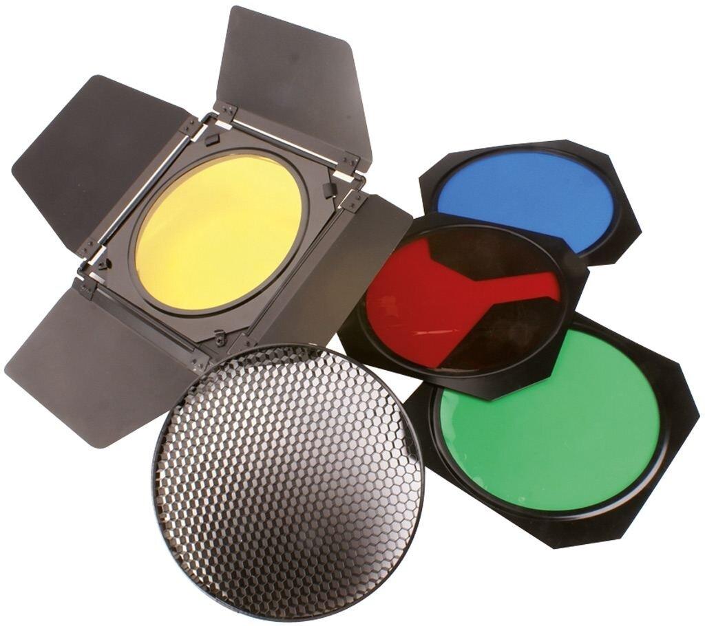 Helios Lichtklappen m. 4 Farbfiltern + Wabenfilter