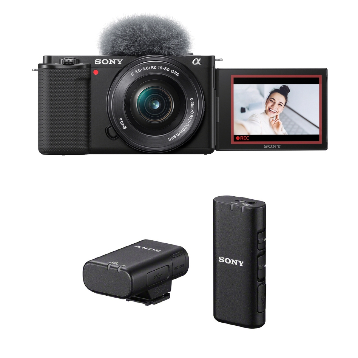 Sony Alpha ZV-E10 schwarz inkl. Sony E PZ 16-50mm 1:3,5-5,6 OSS + Sony ECM-W2BT Mikrofon