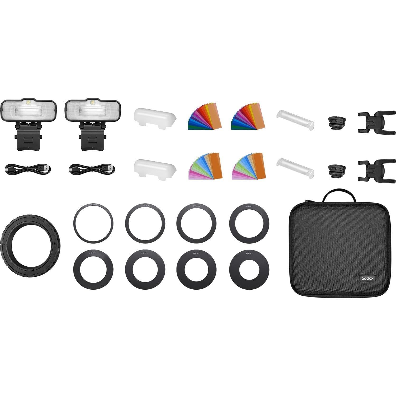 GODOX MF12-K2 Macro Flash 2er Kit + Zubehör