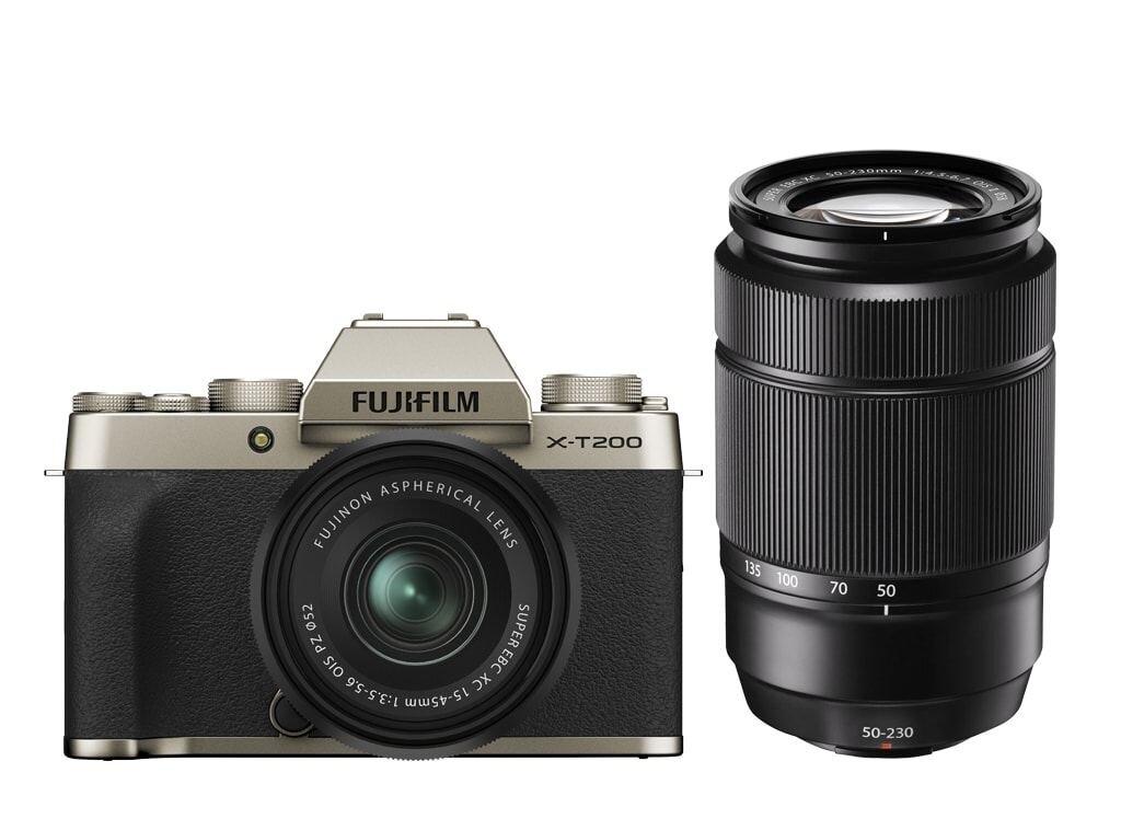 Fujifilm X-T200 Champagner-Gold inkl. XC 15-45mm 1:3,5-5,6 OIS PZ + Fujifilm XC 50-230mm 1:4,5-6,7 OIS II