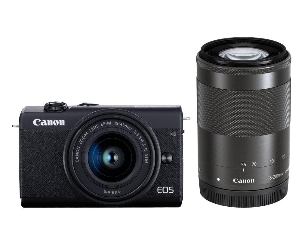 Canon EOS M200 schwarz inkl. EF-M 15-45mm 3,5-6,3 IS STM & EF-M 55-200mm 1:4,5-6,3 IS STM
