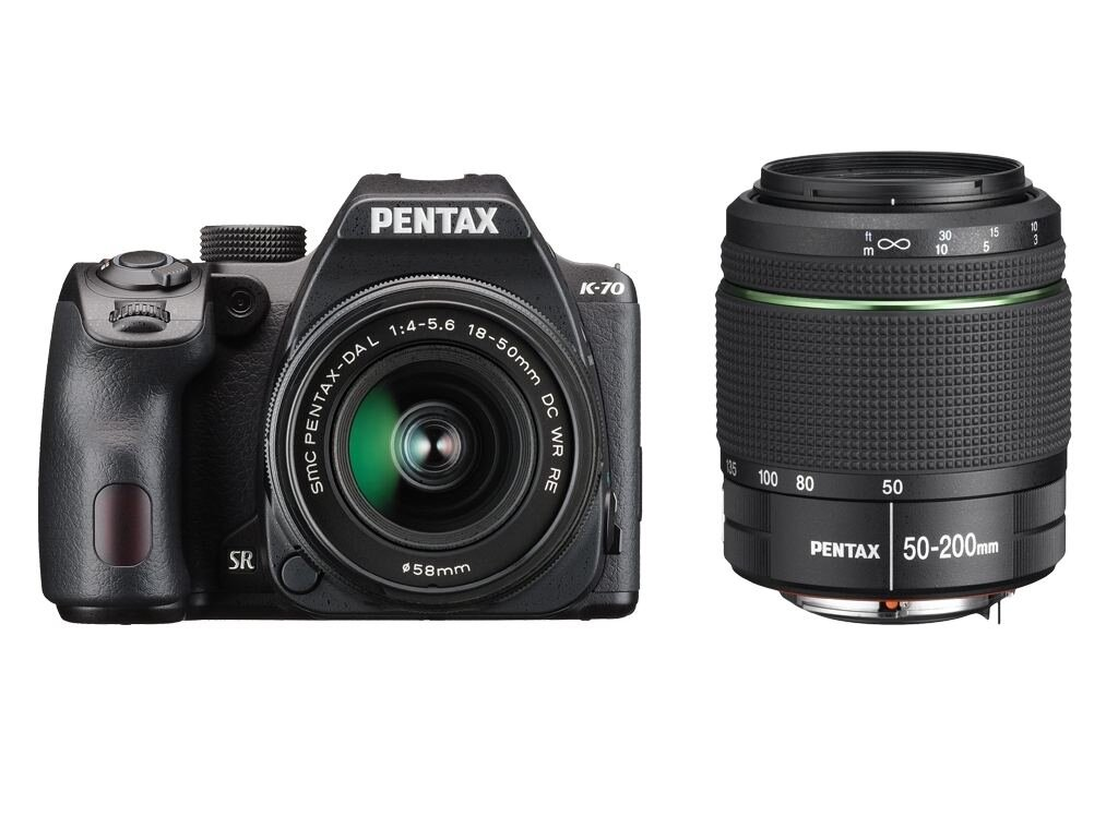 Pentax K-70 inkl. 18-50mm 1:4-5,6 DA L DC WR RE + 50-200mm 1:4,5-5,6 ED DA SMC WR