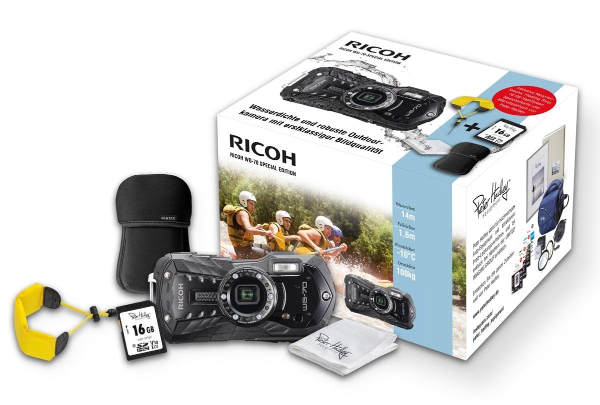 Ricoh WG-70 Kit schwarz Case, Strap Tuch, 16GB Karte