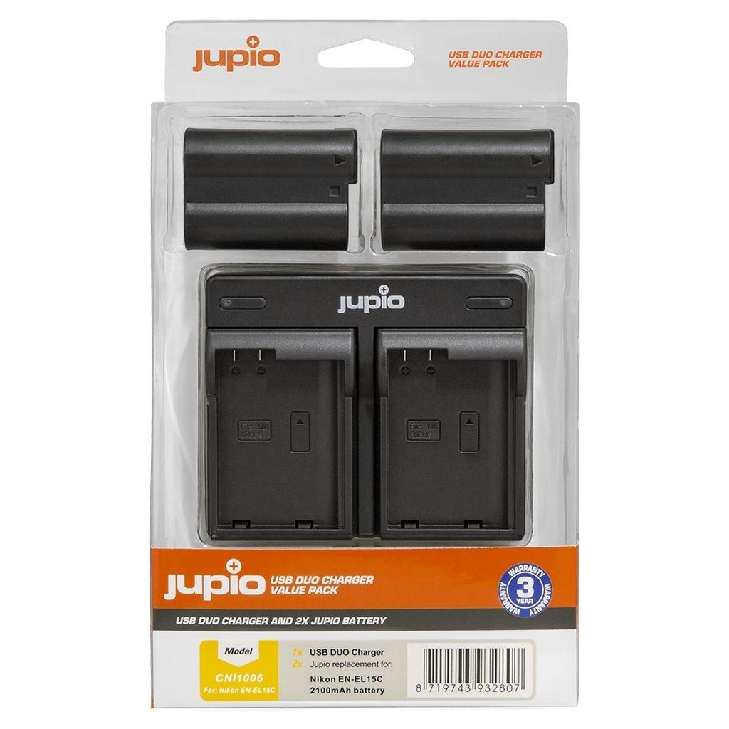 Jupio Value Pack Nikon 2 x EN-EL15C + Doppelladegerät