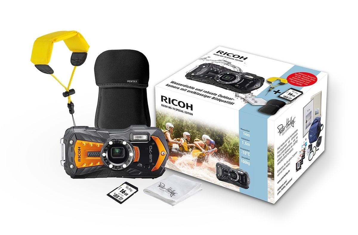 Ricoh WG-70 Kit orange Case, Strap Tuch, 16GB Karte