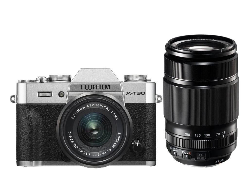 Fujifilm X-T30 silber inkl. XF 18-55mm 1:2,8-4 R LM OIS & XF 55-200mm 3,5-4,8 R LM OIS