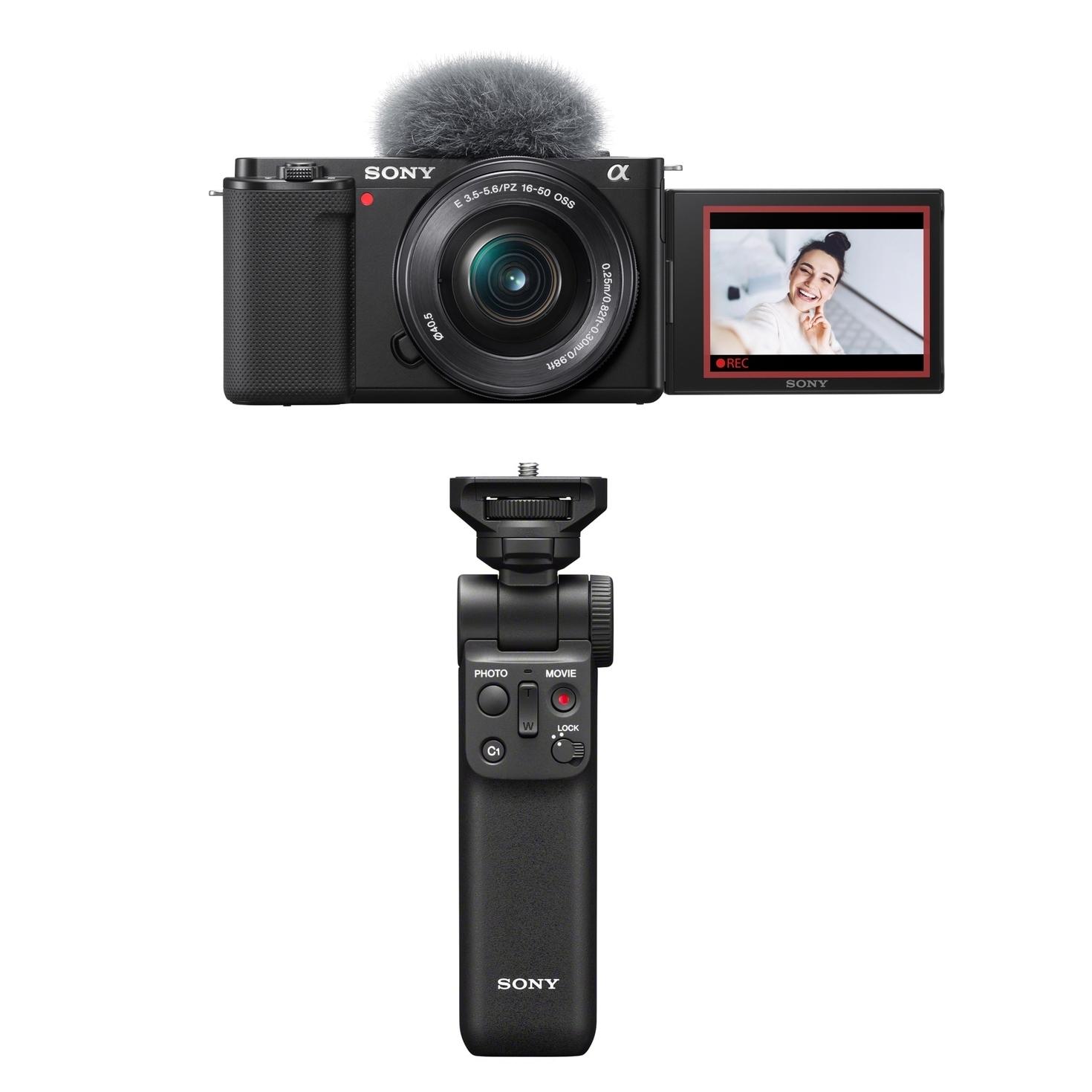 Sony Alpha ZV-E10 schwarz inkl. Sony E PZ 16-50mm 1:3,5-5,6 OSS + Sony SEL 10-18MM 1:4,0 OSS + Sony GP-VPT2BT Handgriff